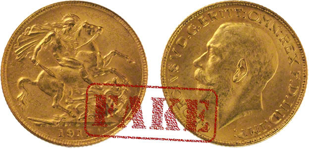 A Lebanese fake 1917 gold sovereign.