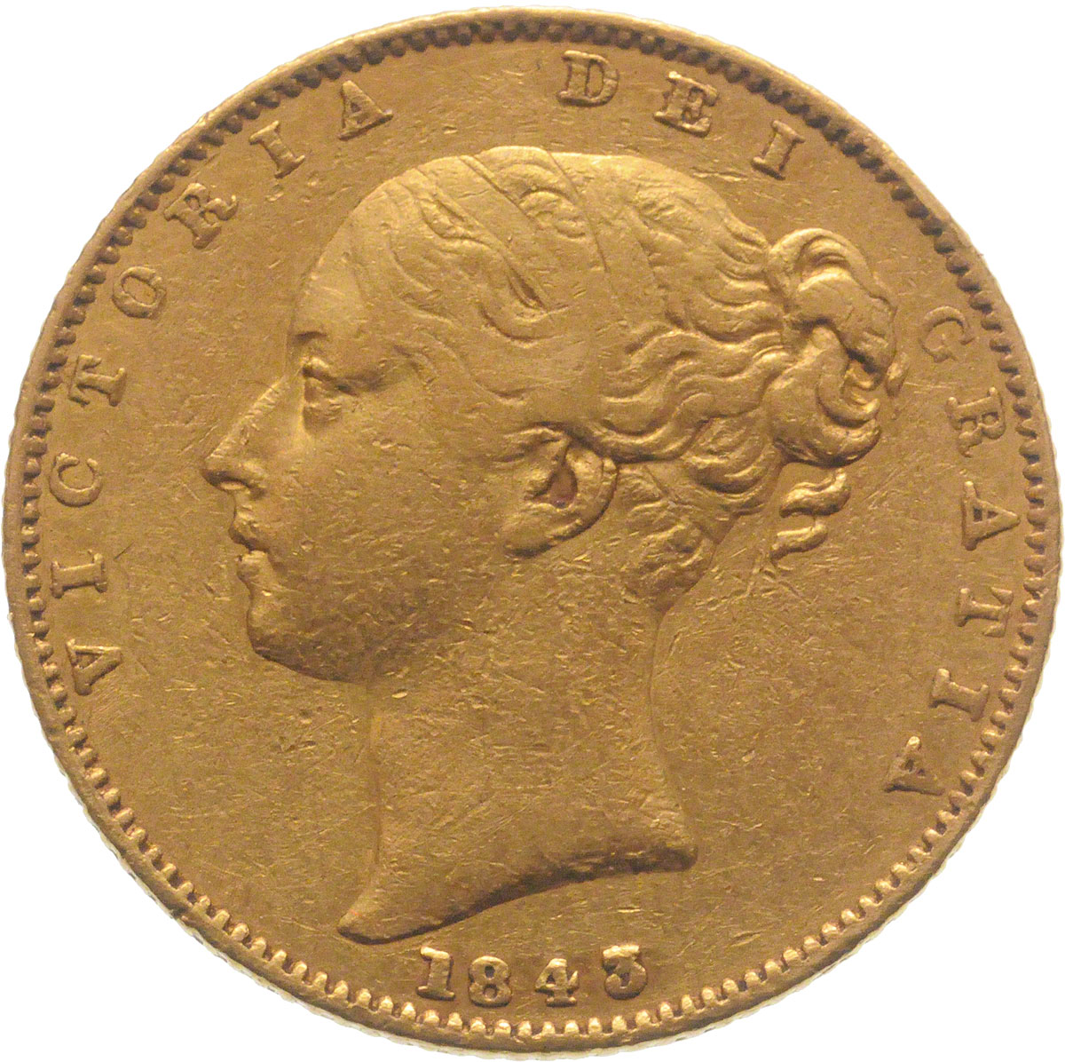 Obverse Face of a 1843-Gold-Sovereign-Victoria-Young-Head-Shield