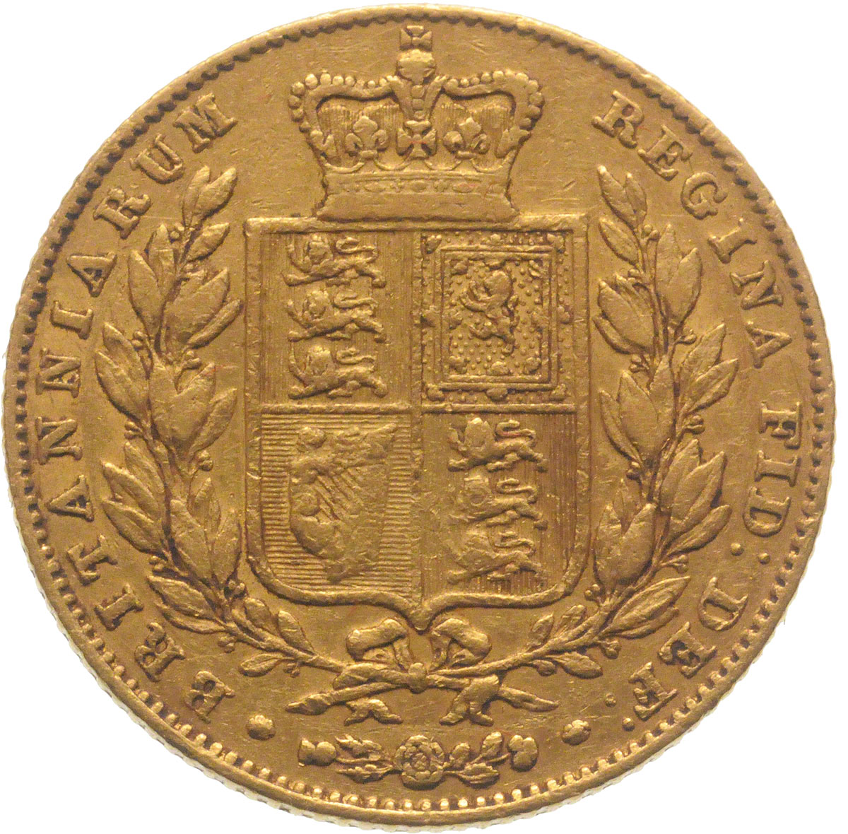 Reverse Face of a 1843-Gold-Sovereign-Victoria-Young-Head-Shield