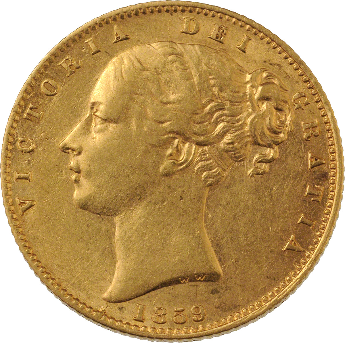 Obverse Face of a 1859-Ansell-Gold-Sovereign