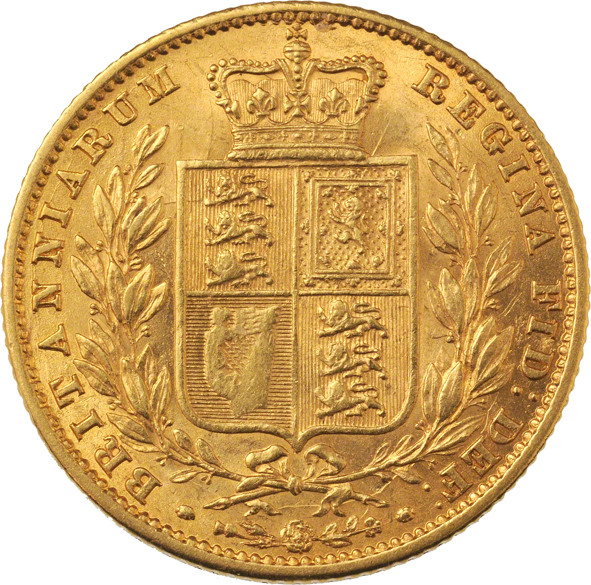 Reverse Face of a 1859-Ansell-Gold-Sovereign
