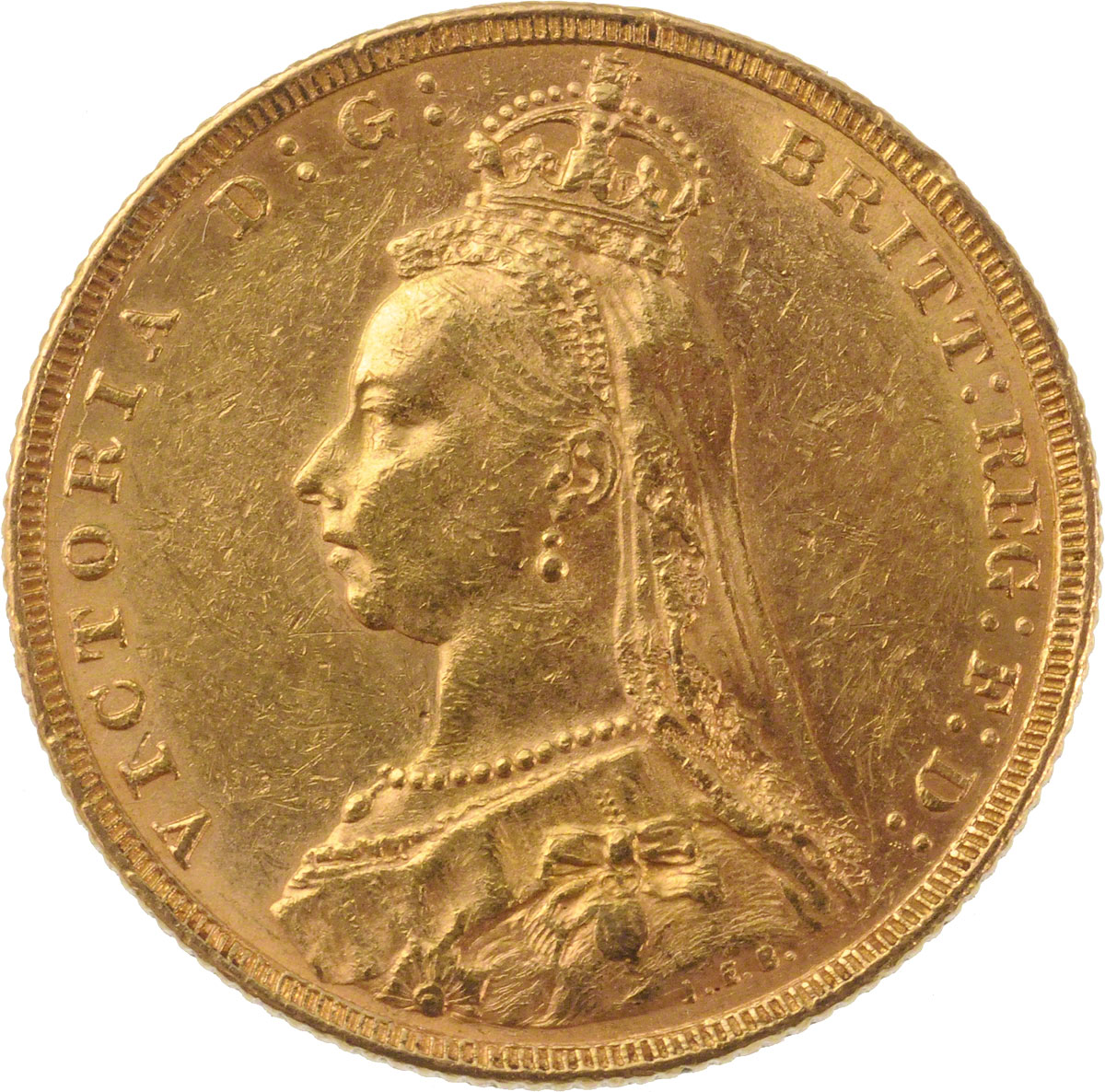 Obverse Face of a 1887-Gold-Sovereign-Victoria-Jubilee-Head-St-George-Melbourne-Mint
