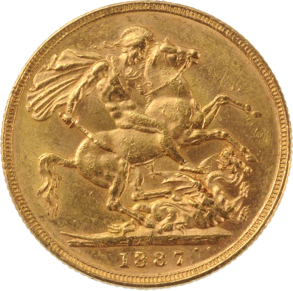 Reverse Face of a 1887-Gold-Sovereign-Victoria-Jubilee-Head-St-George-Melbourne-Mint