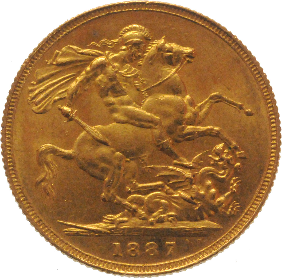 Reverse Face of a 1887-Gold-Sovereign-Victoria-Jubilee-Head-St-George-London-Mint