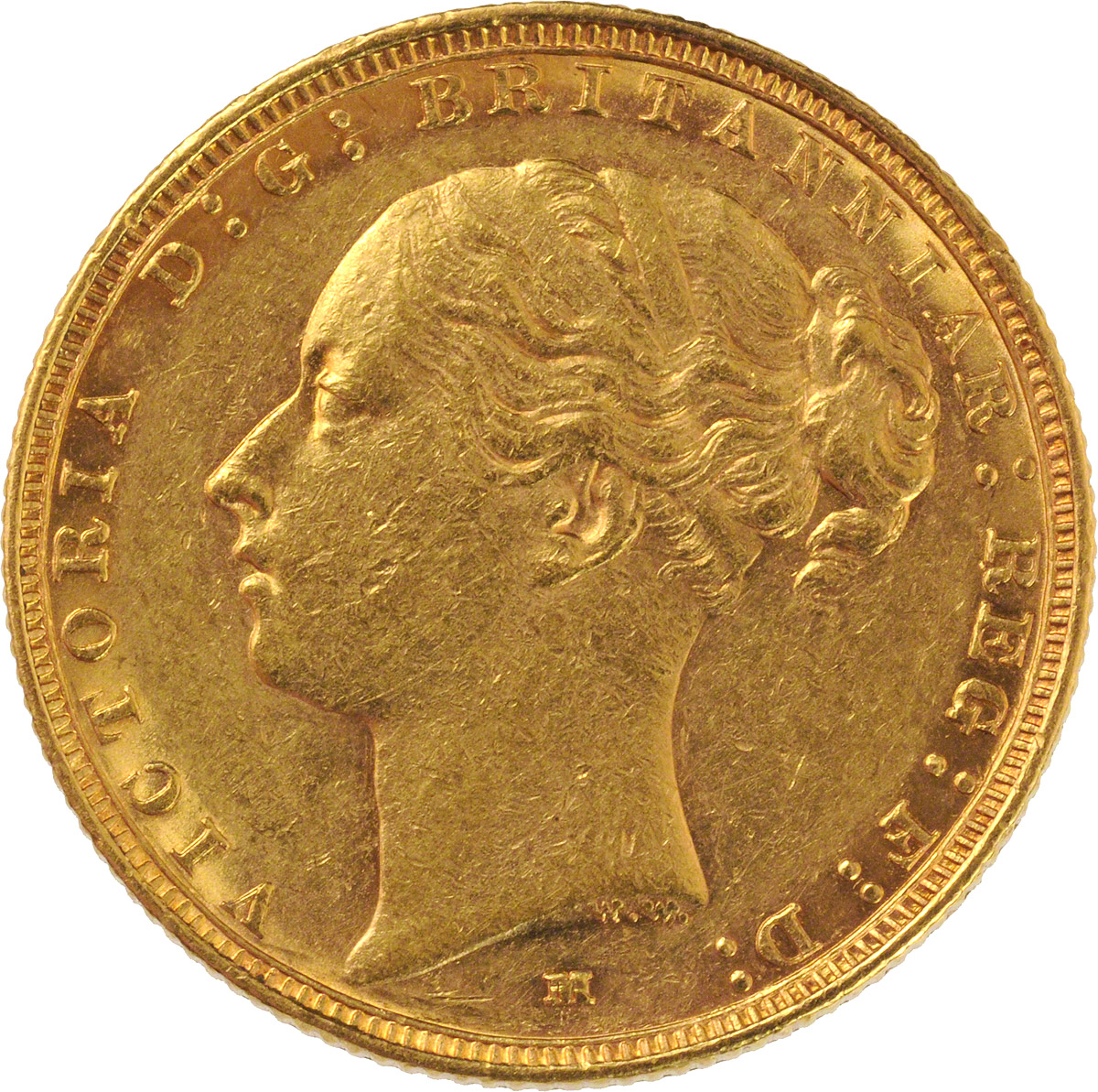 Obverse Face of a 1887-Gold-Sovereign-Victoria-Young-Head-St-George-Melbourne-Mint