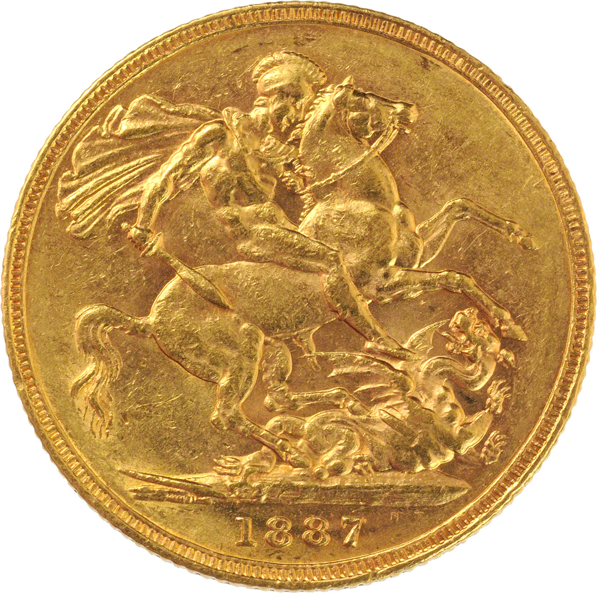 Reverse Face of a 1887-Gold-Sovereign-Victoria-Young-Head-St-George-Melbourne-Mint