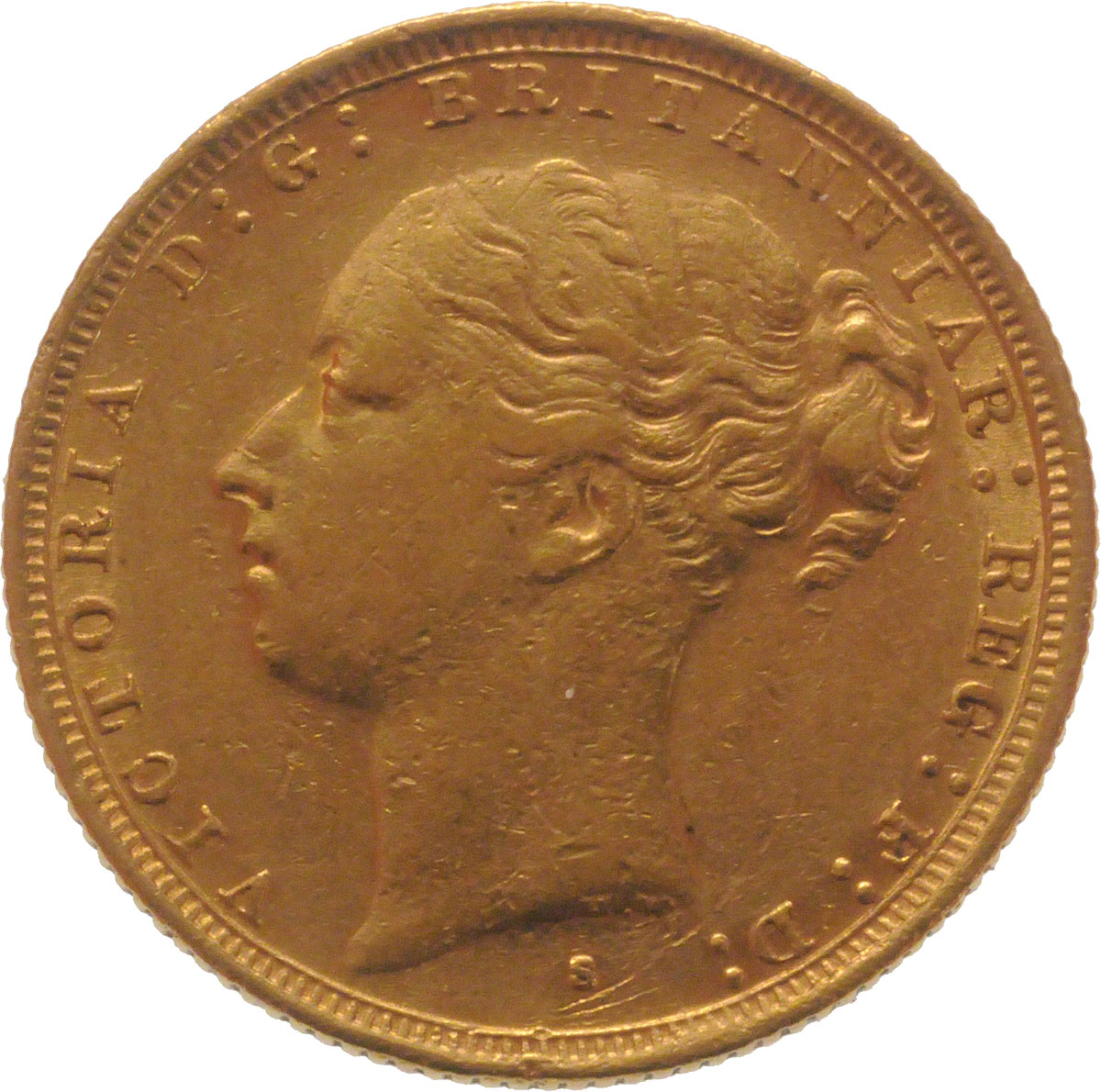 Obverse Face of a 1887-Gold-Sovereign-Victoria-Young-Head-St-George-Sydney-Mint