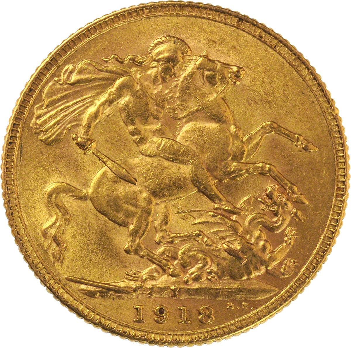 1918 gold sovereign george v st george bombay india mint. Black Bedroom Furniture Sets. Home Design Ideas