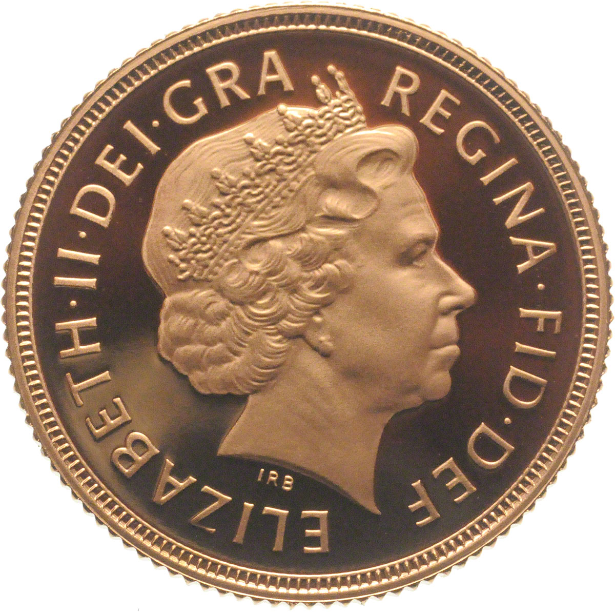 Obverse Face of a 2002-Gold-Sovereign