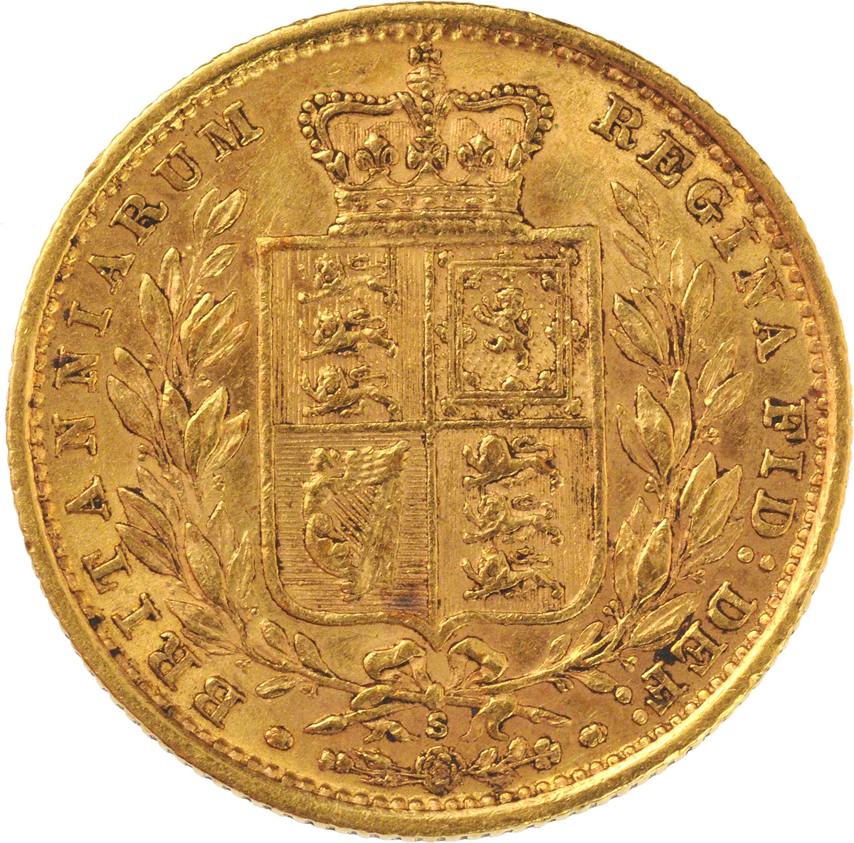 Reverse Face of a 1887-Gold-Sovereign-Victoria-Young-Head-Shield-Sydney-Mint