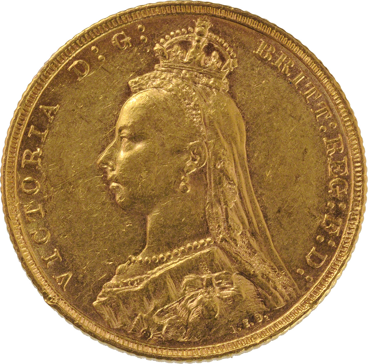 Obverse Face of a 1887-Gold-Sovereign-Victoria-Jubilee-Head-St-George-Sydney-Mint