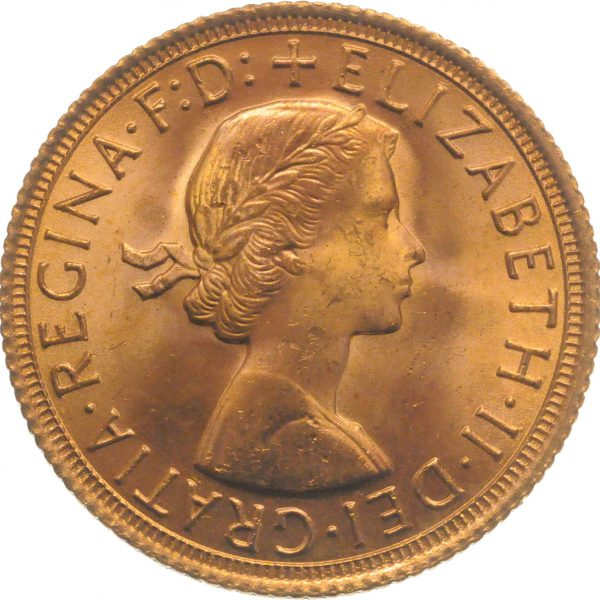 Obverse face of a 1967 gold Sovereign