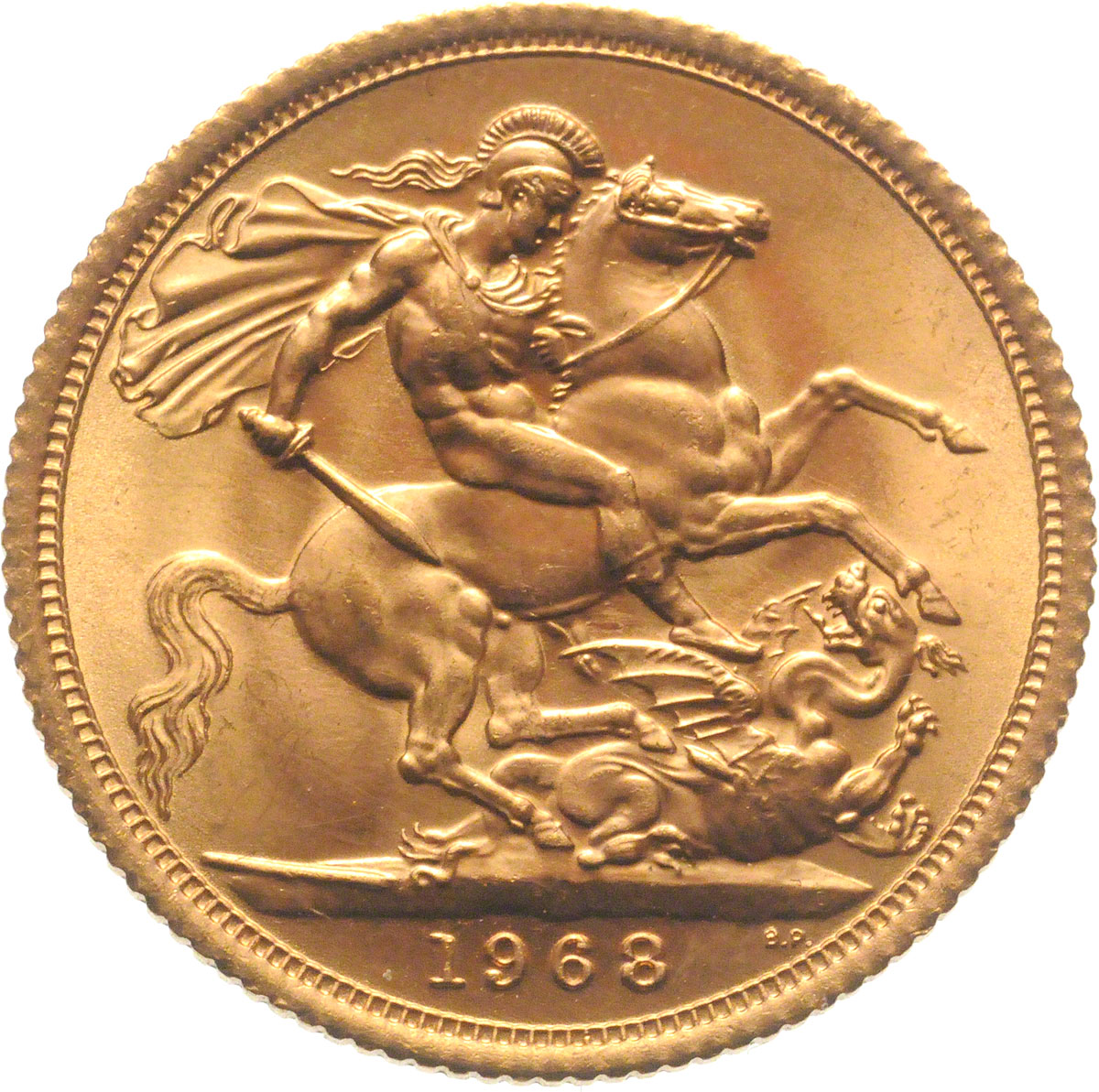 Reverse face of a 1968 gold Sovereign