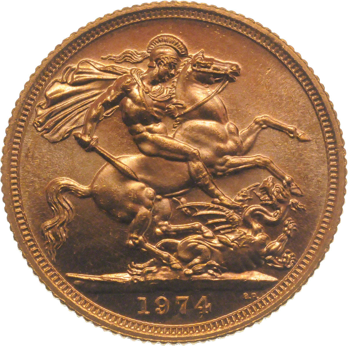 Reverse side of a 1974 gold Sovereign