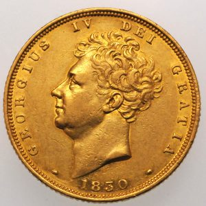 1839 Gold Sovereign : George IV - Obverse