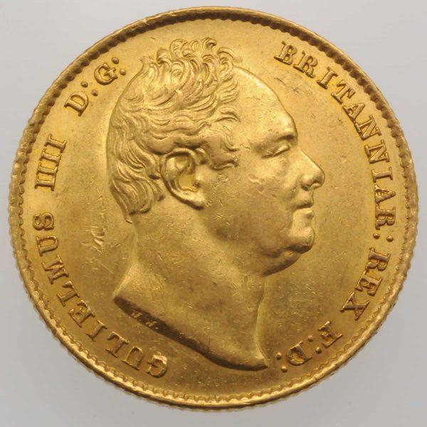 1836 Gold Sovereign : William IV - Obverse