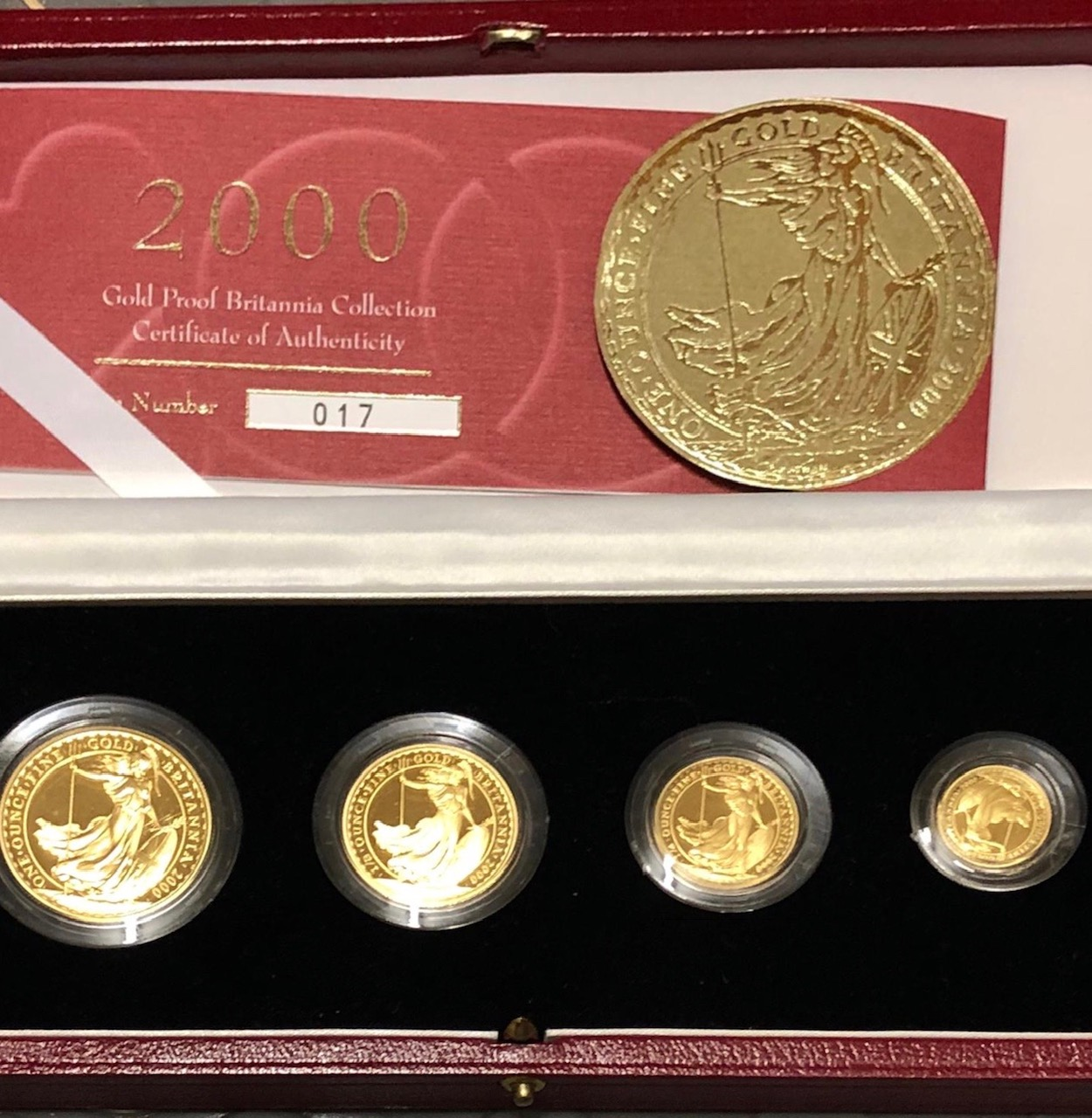 2000 Four Coin Gold Proof Britannia Set