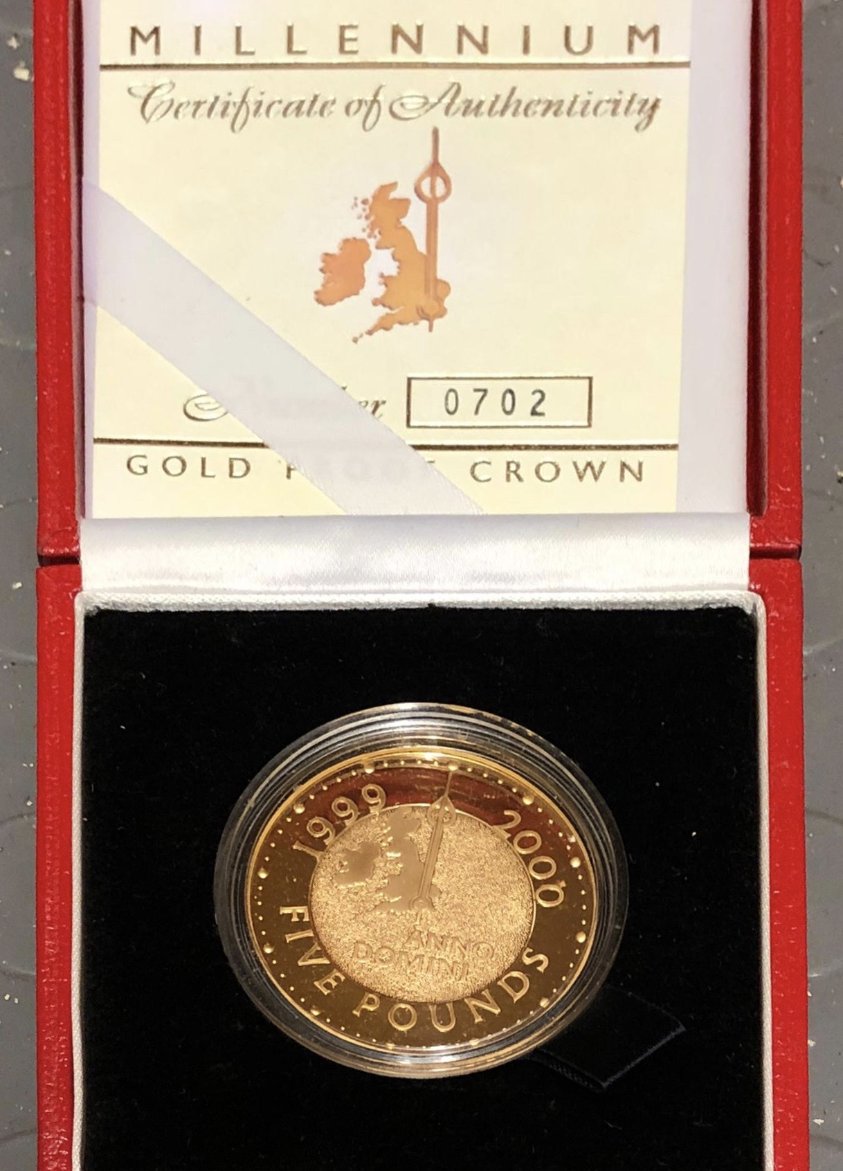 2000 Millennium Gold Proof Five Pounds